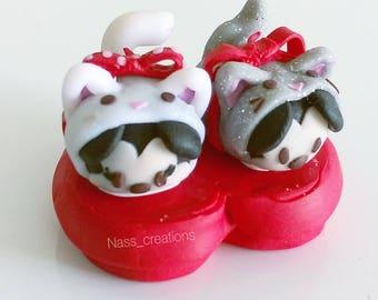 Tsum tsum Disney creation is handmade in polymer Fimo - Mickey Minnie cat box lover