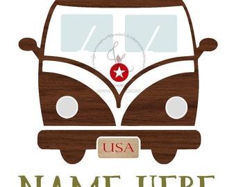 Personalized Name Print - 8x10 ~ Custom Designed Camper Van - Digital Download - Nursery Print