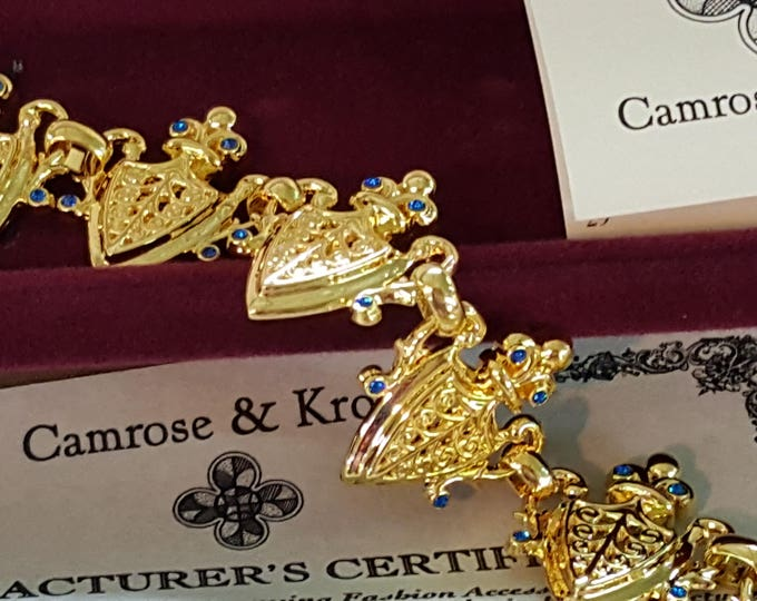 Heraldic Shields Jackie Kennedy Camrose and Kross Bracelet Simulated Sapphires Gold Plated JBK