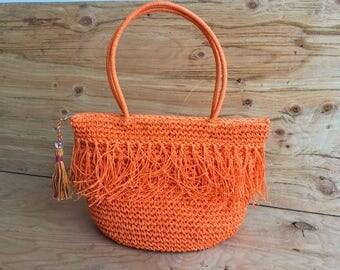 Tasseled Orange Straw Tote Bag // Straw Beach Tote with Tassels // Orange Straw Bag