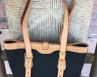 Vintage Dooney and Bourke Black Cabriolet Canvas and Tan Palamino Leather Trimmed Bucket Tote Bag Purse Shoulder Bag Made in the USA