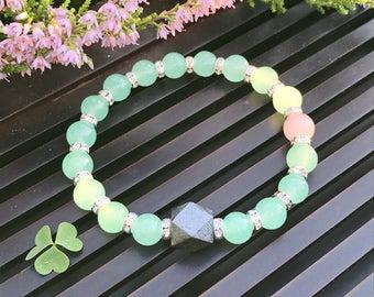 8mm Green Aventurine/Pink Morganite Yoga Mala Beaded Bracelet. Healing Natural Gemstones Bracelet. Good Luck Bracelet. Meditation Bracelet.