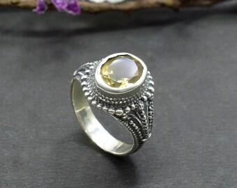 Natural Citrine Oval Gemstone Ring 925 Sterling Silver R42