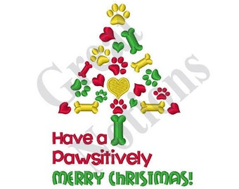 Pawsatively Merry - Machine Embroidery Design