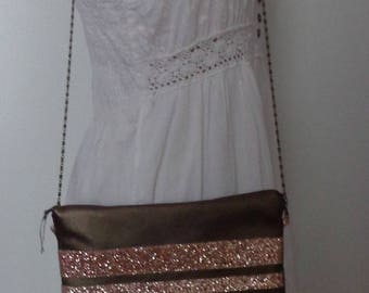 rose gold glitter and faux Pearl brown leather clutch bag