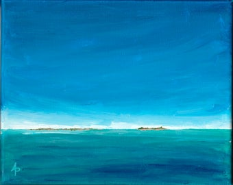 DISTANT LANDS #5 – OOAK Acrylic on Canvas Seascape Painting by Annie Palone