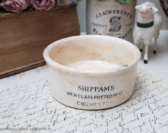 Beautiful antique Shippam's potted meat advertising crock English pottery Brocante Shabby chic Ceramics Stoneware jar