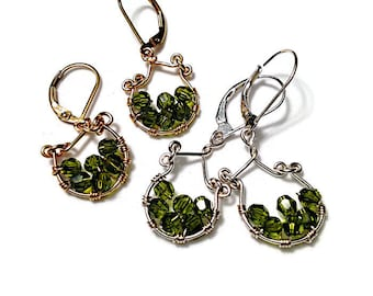 Small Earrings with Olivine Swarovski Crystals in Silver or Gold