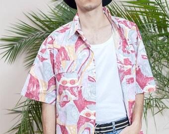 90s shirt•Short sleeve shirt•Abstract print shirt•Mens vintage clothing•Mens button up shirt•Hipster shirt•Collar shirt•Vintage hippie shirt