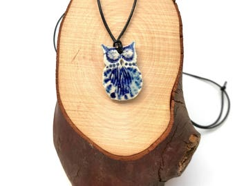 Ceramic Owl Pendant ~ Colorful owl necklace, Porcelain jewelry, owl lover gift, gift for her, nature jewelry, owl jewelry, blue owl
