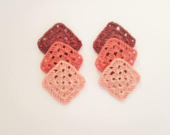 Crochet Granny Square, Small Crochet Appliques, Shades of Pink, Embellishment,Handmade Granny Square, Mini Granny Square,Crochet Supplies