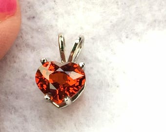 Spessartite Garnet Heart Pendant, Extreme Top Orange Spessartite Set in 10K White Gold