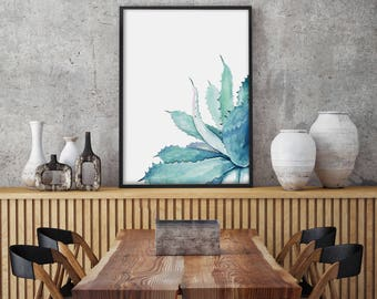 Watercolor Aloe Vera Painting, PRINT Agave, Green Blue Plant Leaf Painting, Succulent Minimalist Wall Decoration
