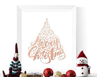 Rose Gold Christmas Printable | Merry Christmas Printable | Christmas Printables  | Rose Gold Christmas Decorations | Christmas Decor Print