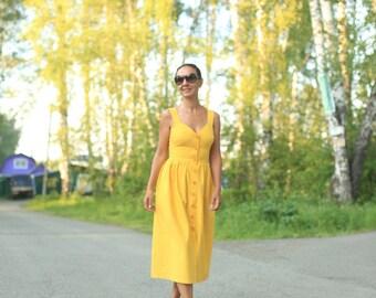 Yellow natural linen dress, dress with pockets, linen, yellow dress, natural linen, linen dress, summer dress, bright dress, maternity dress
