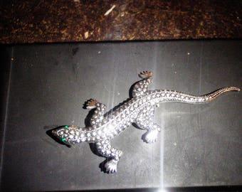 vintage brooch marcasite lizard 1970s emerald eyes