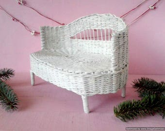 18 inch doll couch, sofa. Lounge for Super Dollfie (BJD SD), Azone and other. Ooak furniture toy. Wicker from recycled materials White color