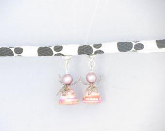Pink paper bead, pink Angel earrings,® MoovClipEar, interchangeable earrings