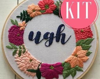 hand embroidery kit | embroidery kit | diy embroidery | diy embroidery kit | embroidery pattern | modern embroidery kit | ugh