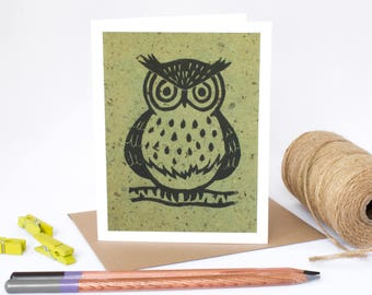 Note Card Set - 6 Blank cards - Note Cards - Handmade Cards - Stationery - Linocut - Set of cards - Novelty Cards - Woodland - Owl Cards