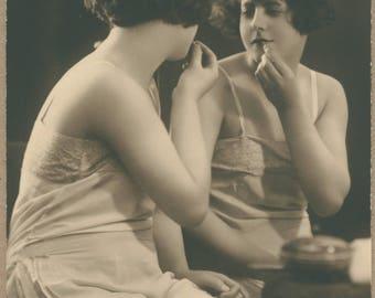 1920's Sugar Applies Lipstick | Bawdy Sweetheart Returns to Bed | Rumpled Hair | Sleepy Nightdress | Antique French Boudoir Postcard |