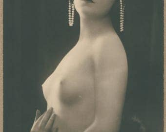 Paris Odalisque | Fine French Nude Postcard  Dark Haired Beauty Emerges from Furs | Ornamental Pearl Buns | Picturesque | Mandel |