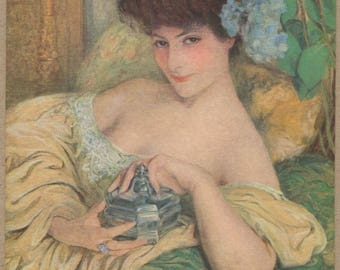 Madame Hydrangeas Décolleté | Gorgeous French Lapina Portrait Postcard | Salon De Paris | Subtle Erotic Boudoir Art | Peignoir | Beaux-Arts