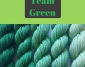 Team Green gradient Shelley fingering weight 100% wool mini skein set