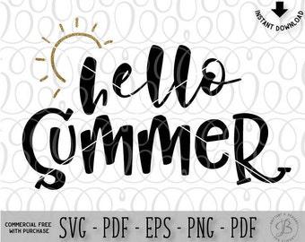 Hello Summer, Summer SVG, Summer Cut file, Summer dxf, Beach svg, Beach life svg, Svg files, Silhouette cameo