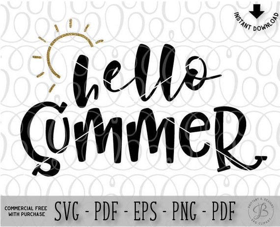 Hello Summer Svg Dxf File Instant Download Silhouette Cameo