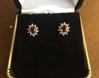 Genuine Blood Red Garnet and Diamond Earrings