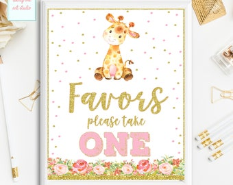 Giraffe Favors Sign, Birthday Please Take One Party Sing, Baby Shower Favors Table Sign, Pink and Gold Printable Sign, INSTANT DOWNLOAD