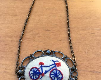 Embroidered Bicycle Necklace