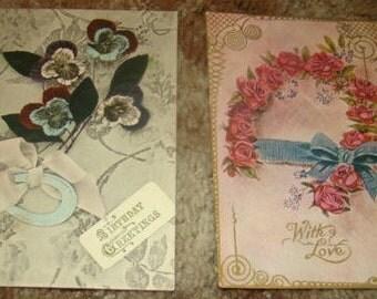 2 Pretty Vintage Floral/Horseshoe Postcards