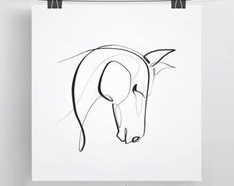 Horse Print | Horse Gifts | Equine One Line | Minimal Pony | Horse Portrait | Equine Gift | Horse Art | Minimal Horse Art | Equestrian Art