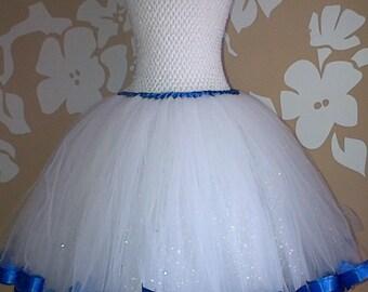 Ribbon Trimmed Flower Girl Dress, Flower Girl Tutu Dress, Young Bridesmaid Dress, White Sequinned Ribbon Trimmed Tutu Dress