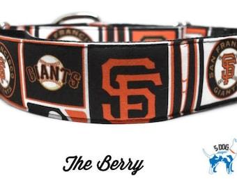 Orange and Black Baseball Dog Collar, Martingale collar, Martingale Buckle, Metal Buckle Dog Collar, The Barry Custom Dog Collar