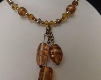 Bronze Tone Tier Drop Beaded Necklace