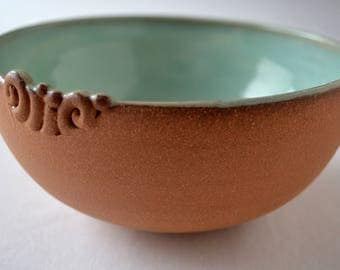 ceramic bowl, pottery, foodsafe, aqua, redclay,tactile,