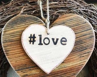 Rustic #love heart, Small wood heart, Valentine gift, Valentine decor, Wedding decor, Love