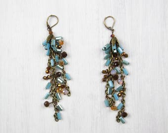 BLUE WATERFALL, earrings, turquoise, Brown, beige, bronzed metal, polished crystal glass beads