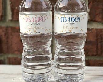 Printed Baby Shower Water Bottle Label - Baby Shower Decor - It's a Girl - It's a Boy - Baby Shower Favor