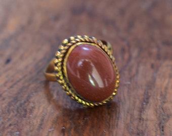 sunstone brass adjustable ring,gemstone ring