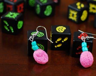 Pink Brain Zombie Earrings