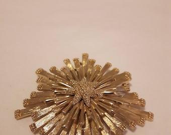 Vintage Large Monet Gold Tones Brooch - 1970s