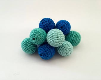 """Crochet beads 20 mm 5 PCS 5/8"""", Wooden crochet cotton beads, Handmade crocheted wooden beads, Blue, Teething toy, Teething beads, Turquoise"""