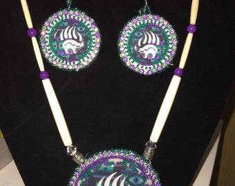 Lightening Bear Paw Medallion Set with Earrings