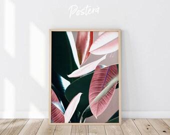 Leaf print, Leaf poster, Plant Prints, Botanical Art, Tropical Leaf Print, Leaves print, Leaves poster, Digital print, Scandinavian print