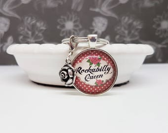 Rockabilly key pendant, Rockabilly Keychain, rocknroll rocknroll Keychain pendant, pin up, bag charms, accessories,.