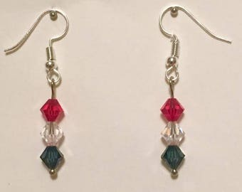 Red, White, & Blue Swarovski Earrings